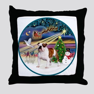 Xmas Magic (R) - English Bulldog 5 Throw Pillow