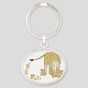Lionwcubsdark Oval Keychain