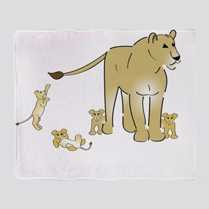 Lionwcubsdark Throw Blanket