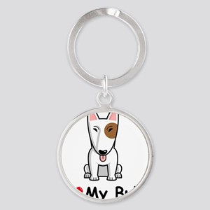 I-Love-My-Bully-dog Round Keychain