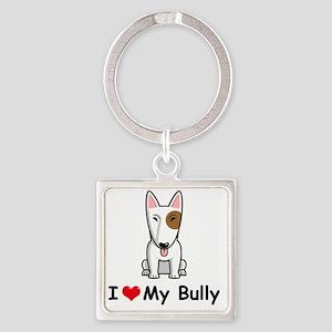 I-Love-My-Bully-dog Square Keychain