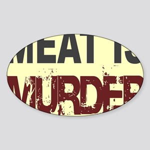 Meat Is Murder-yellow square Sticker (Oval)