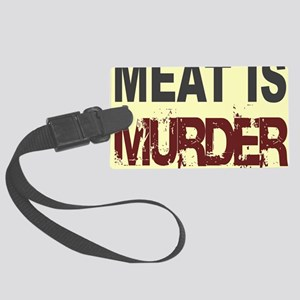 Meat Is Murder-yellow square Large Luggage Tag