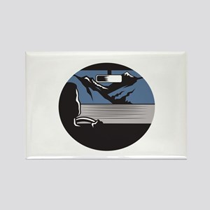 Driver Looking Mountain Pass Oval Woodcut Magnets
