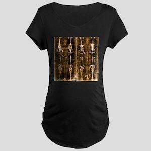 Shroud of Turin - Full Leng Maternity Dark T-Shirt