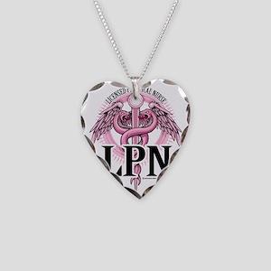LPN-PINK-Caduceus Necklace Heart Charm