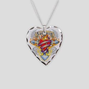 Epilepsy-Cross--Heart Necklace Heart Charm