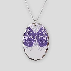 Epilepsy-Butterfly-blk Necklace Oval Charm