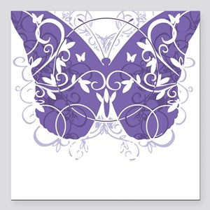 "Epilepsy-Butterfly-blk Square Car Magnet 3"" x 3"""