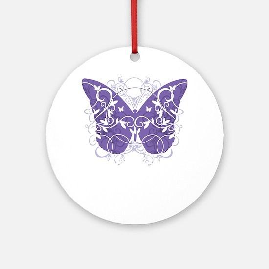 Epilepsy-Butterfly-blk Round Ornament