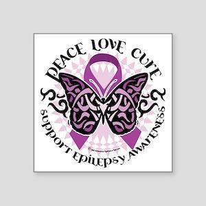 "Epilepsy-Butterfly-Tribal-2 Square Sticker 3"" x 3"""