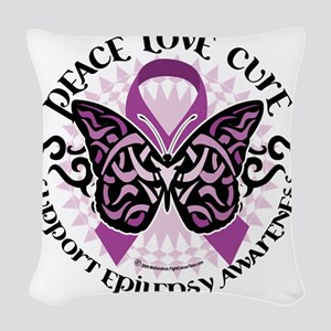 Epilepsy-Butterfly-Tribal-2 Woven Throw Pillow