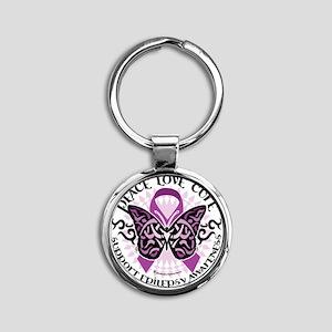 Epilepsy-Butterfly-Tribal-2 Round Keychain