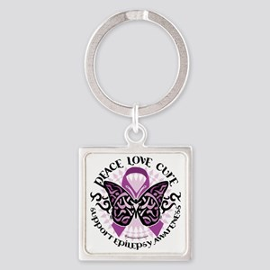 Epilepsy-Butterfly-Tribal-2 Square Keychain