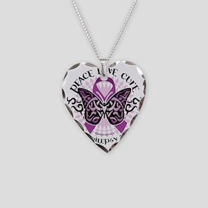 Epilepsy-Butterfly-Tribal-2 Necklace Heart Charm