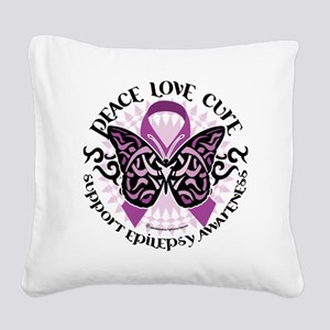 Epilepsy-Butterfly-Tribal-2 Square Canvas Pillow