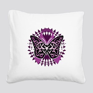 Epilepsy-Butterfly-Tribal-2-b Square Canvas Pillow