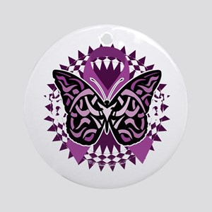 Epilepsy-Butterfly-Tribal-2-blk Round Ornament