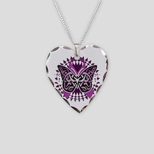 Epilepsy-Butterfly-Tribal-2-b Necklace Heart Charm