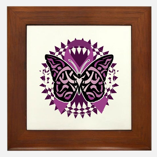 Epilepsy-Butterfly-Tribal-2-blk Framed Tile