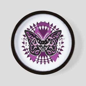Epilepsy-Butterfly-Tribal-2-blk Wall Clock