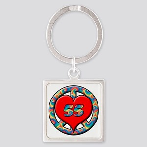 peace heart and 55 copy Square Keychain