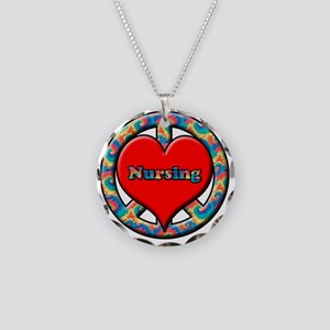 peace heart and nursing Necklace Circle Charm