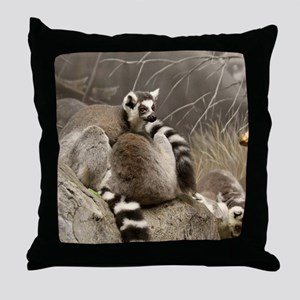 RingTailed Lemurs Small Poster Throw Pillow