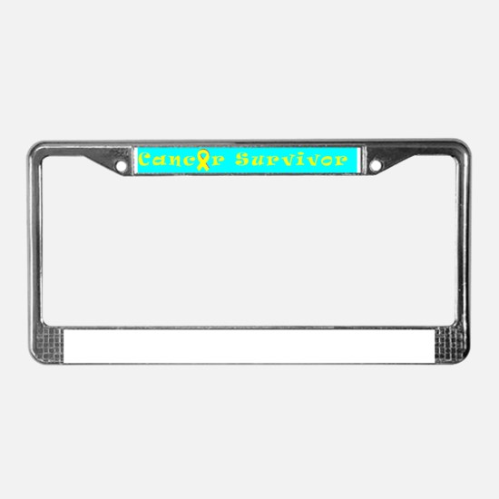 cancer png survivor turq yello License Plate Frame