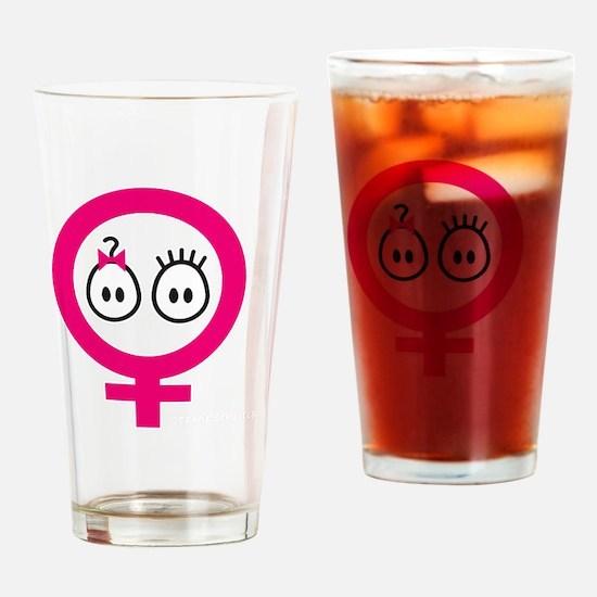 Girl Boy Twins_blk Drinking Glass