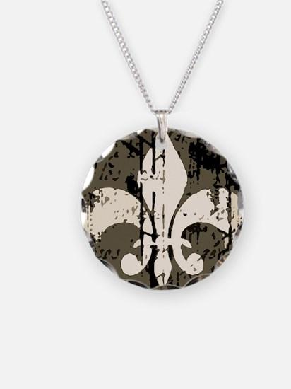 a fleur de lis antique Necklace Circle Charm