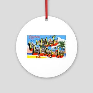 Miami Beach Florida Greetings Ornament (Round)