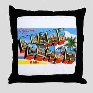 Miami Beach Florida Greetings Throw Pillow