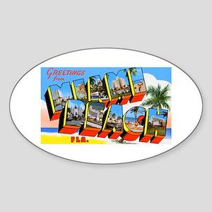 Miami Beach Florida Greetings Oval Sticker