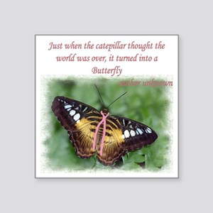 "Butterfly BC Ribbon B Square Sticker 3"" x 3"""