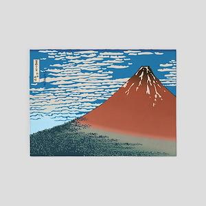 Hokusai_Red_Fuji1 5'x7'Area Rug