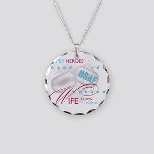 SuperHeroesAreReal_USAFWife Necklace Circle Charm