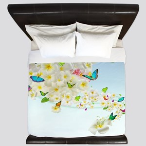 Plumeria Butterflies King Duvet Cover