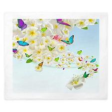Plumeria Butterflies King Duvet Cover