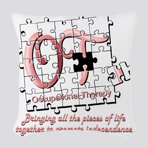 ot puzzle pink Woven Throw Pillow