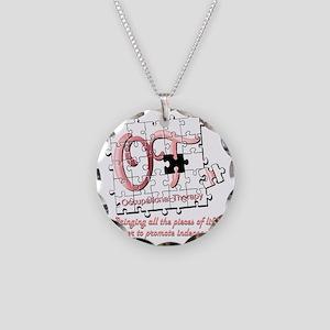 ot puzzle pink Necklace Circle Charm
