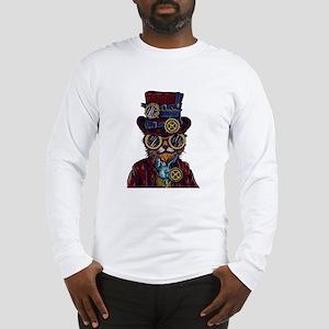 Steampunk Cat Illustration Long Sleeve T-Shirt