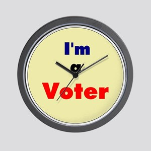 3.5 IM A VOTER BUTTON-COLOR Wall Clock