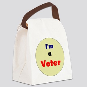 3.5 IM A VOTER BUTTON-COLOR Canvas Lunch Bag