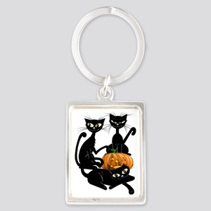 Three Black Kitties and a Pumpki Portrait Keychain