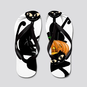Three Black Kitties and a PumpkinTrans Flip Flops