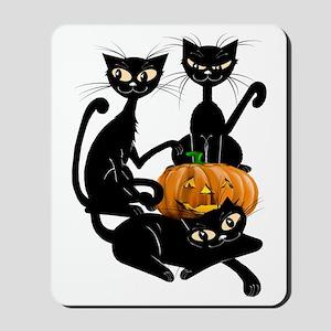 Three Black Kitties and a PumpkinTrans Mousepad