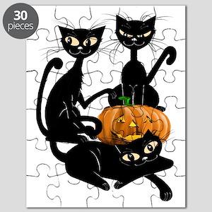 Three Black Kitties and a PumpkinTrans Puzzle