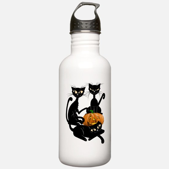 Three Black Kitties an Water Bottle