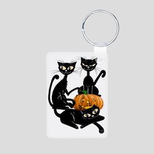 Three Black Kitties and a  Aluminum Photo Keychain